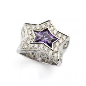18k White Gold Amethyst and Diamond Rock Star Ring